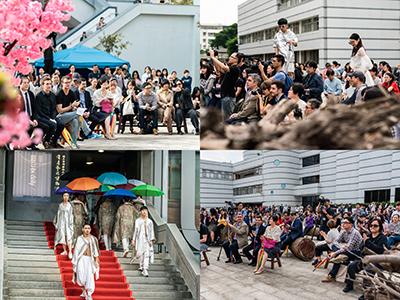 雙年展開幕學生迎賓表演與現場大批觀眾聚集觀禮。