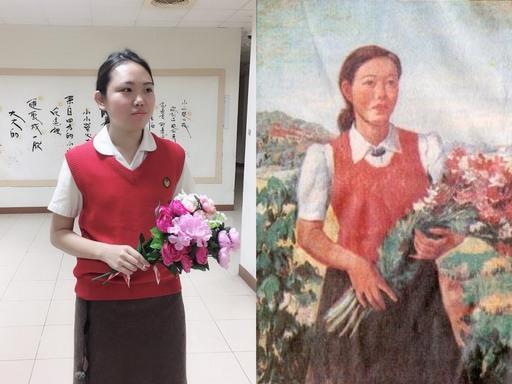 臺北大學學生複製演出李梅樹畫作主角