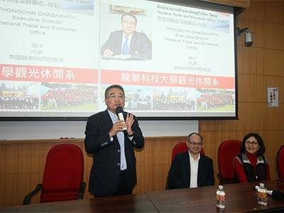 泰駐台經貿代表通才向師生暢談目前泰官方在觀光政策上的最新發展方向。