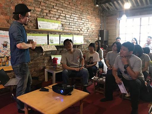 太古酒吧曾松慶老闆分享「太古創立與神農街的願景」講座之現場情形。