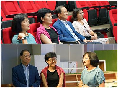 上圖參觀電影院,並觀賞學生自製短片;下圖參觀傳播學院攝影棚。