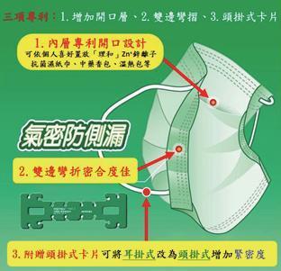 李春興博士研發獲專利的中藥防護口罩。