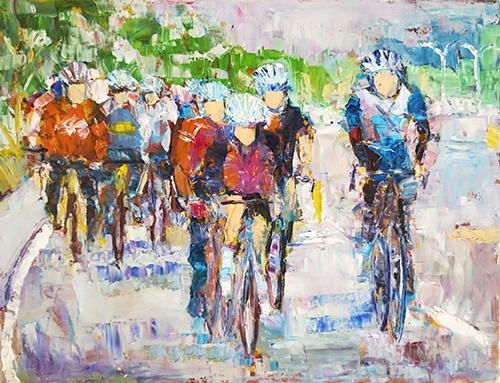 單車騎士,油彩,10P(53X41cm)