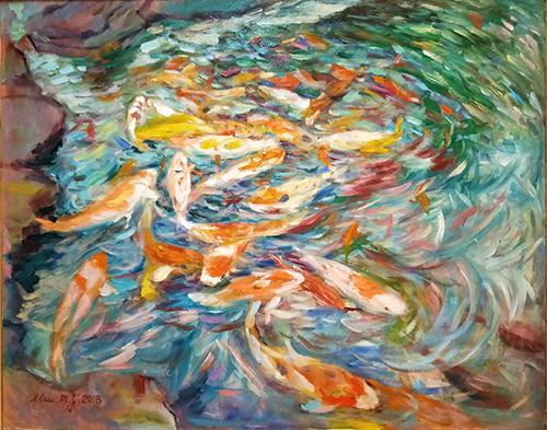 錦鯉池,油彩,30F(91X72.5cm)_
