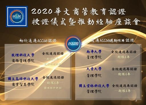 2020年ACCSB認證榮譽榜