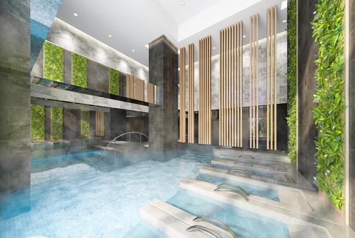 「關渡左岸-天湛」設有溫泉公設。(3D模擬圖)