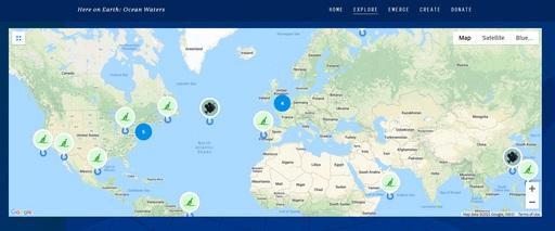 全球觀眾可透過Here on Earth 海洋藝術地圖互動式軟體,即時分享自己的海洋故事,照片和海洋詩!(圖片提供/靈鷲山佛教教團)
