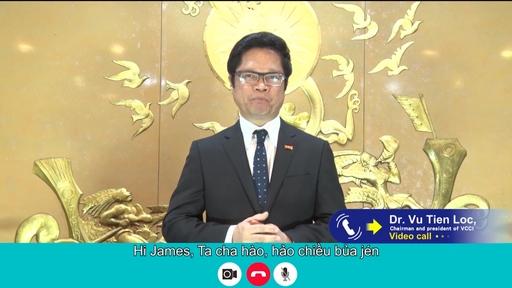 【圖4】2021越南臺灣形象展開幕典禮越南工商總會(VCCI) 住席武進祿連線致詞。(貿協提供)