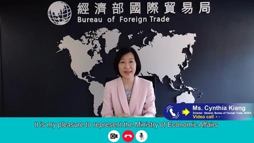 【圖3】國貿局局長江文若於2021越南臺灣形象展開幕典禮致詞。(貿協提供)