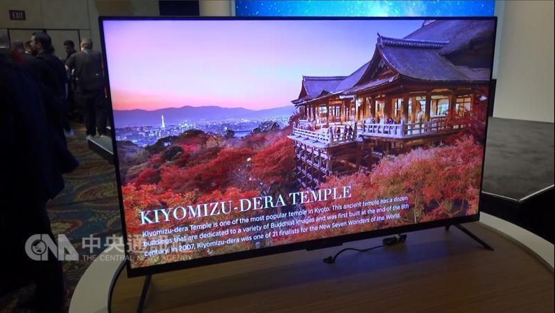 中國大陸品牌小米首次參加消費性電子展,推出超薄機 種小米電視4。 中央社記者曹宇帆拉斯維加斯攝