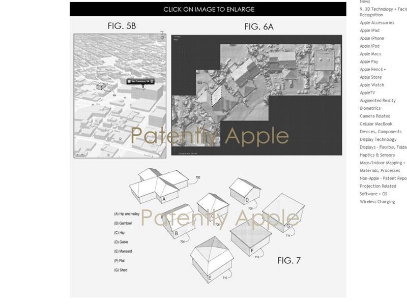 外媒報導,蘋果正在研發屋頂分析工具,可辨識各類屋頂型態,以及建築物與各類屋頂之間的相符度。(圖取自Patently Apple網頁www.patentlyapple.com)
