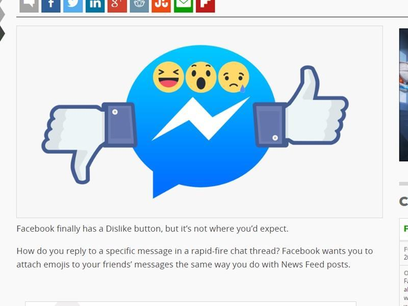 Facebook(臉書)即時通Messenger正在小規模測試7種新表情符號,包括期待已久代表「爛」的「拇指向下」。(圖取自techcrunch.com)