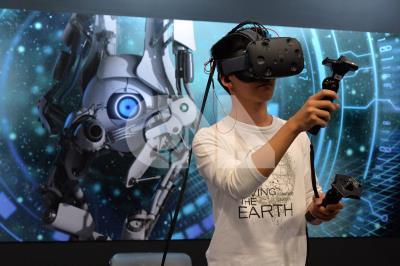 虛擬實境(VR)裝置。 中央社檔案照片