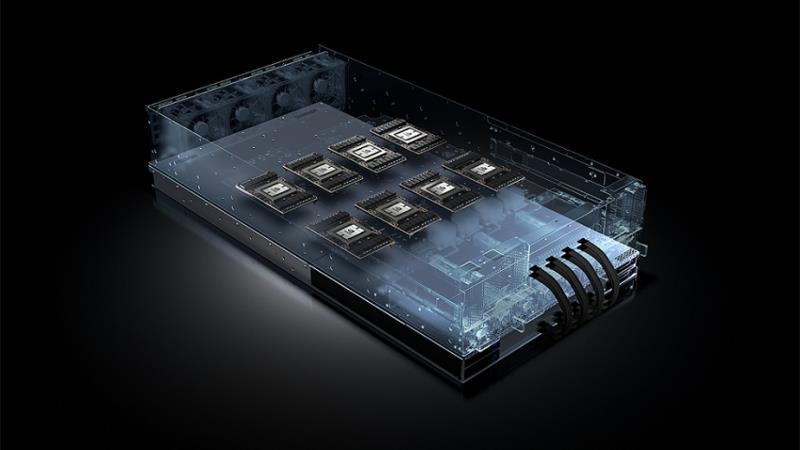 Nvidia GPU運算平台的效能以及市場採納度也跟著水漲船高。目前全球前十大超大規模企業資料中心皆採用Nvidia GPU加速器(圖為Nvidia HGX參考設計,輝達提供)