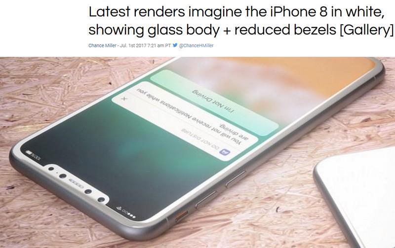 國外科技網站9To5Mac報導,設計師哈耶克描繪出據稱是iPhone 8白色和銀色機身的想像圖。(圖取自9To5Mac網站9to5mac.com)