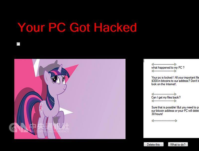 Virus勒索病毒是一個不會加密檔案的勒索病毒,其勒 索訊息使用了「My Little Pony(彩虹小馬)」卡通當 中的一個角色,要求的贖金為300比特幣(約新台幣 2380萬元)。 (翻攝趨勢科技部落格) 中央社記者吳家豪傳真 106年7月8日