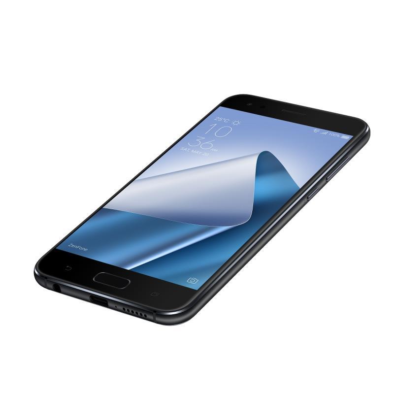 ZenFone 4黑色款手機正面與背面,東森購物網現貨開賣將供應全規格與色系選擇。