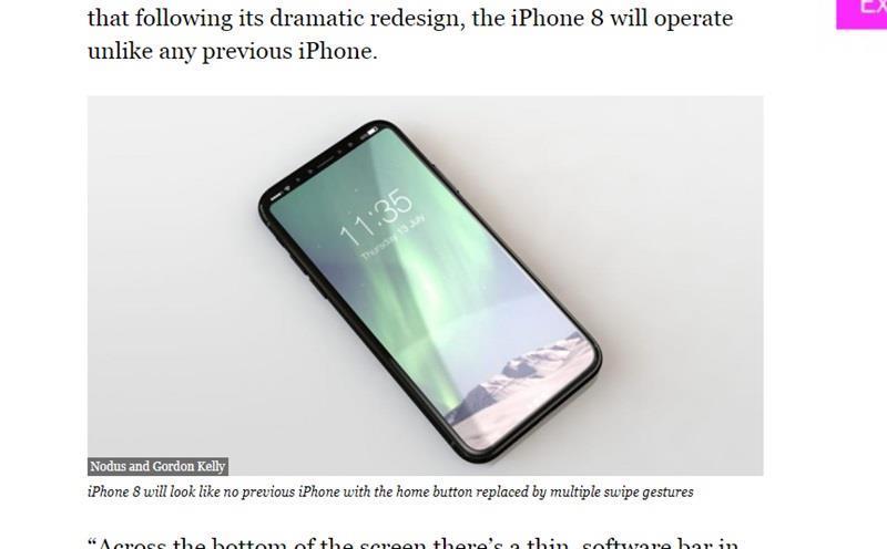 科技資深自由作家凱利文章推測,iPhone 8可能不會採用指紋辨識功能,因為指紋辨識內建在螢幕內部的技術,無法達到蘋果2017年旗艦機種的要求,不過蘋果未來iPhone可能採用新的花樣。(圖取自富比世雜誌網站www.forbes.com)