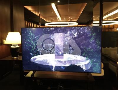 三星電子5日在台開賣THE FRAME美學電視系列,首波推 出55吋和65吋兩款4K UHD電視機型。圖為65吋機型。 中央社記者吳家豪攝 106年9月5日