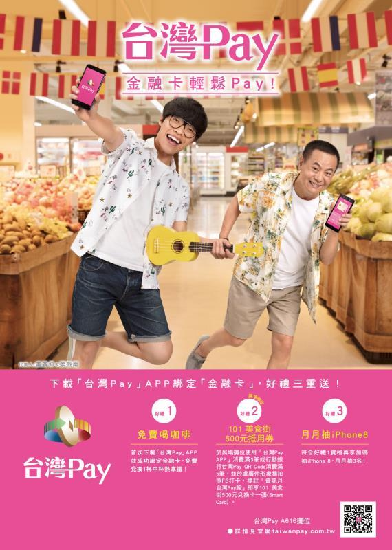 下載「台灣Pay」APP綁定「金融卡」可享好禮三重送