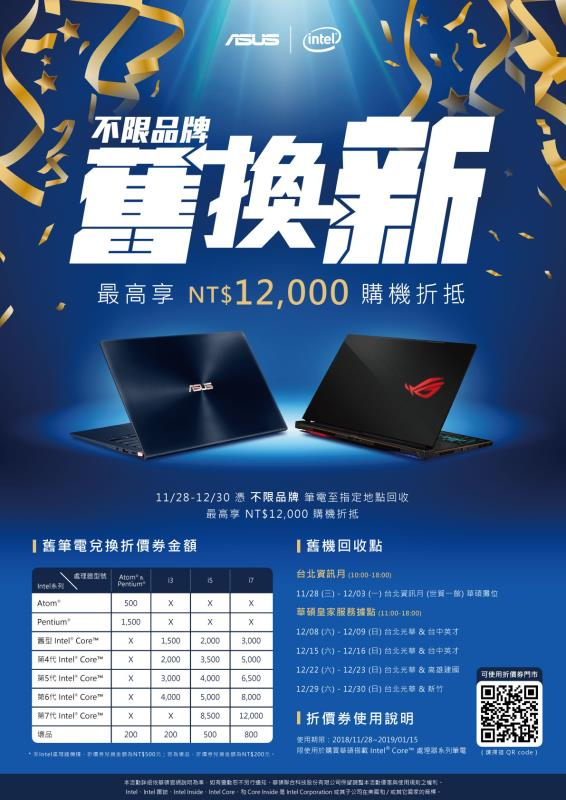 華碩攜手Intel 推全球3C產品舊換新活動