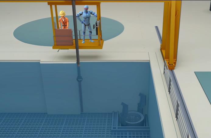將反應爐中的用過核子燃料移到用過燃料池