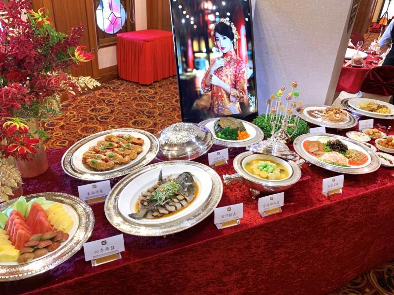 圓山「大囍宮廷宴」精緻美味料理與華麗餐具。