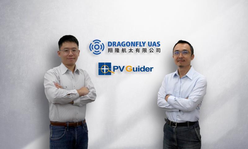 專攻無人機太陽能智慧巡檢服務的的翔隆航太正式宣布與太陽光電技術專家傑能科技攜手合作。翔隆航太執行長李奕儒(左),傑能科技首席顧問林敬傑博士(右)