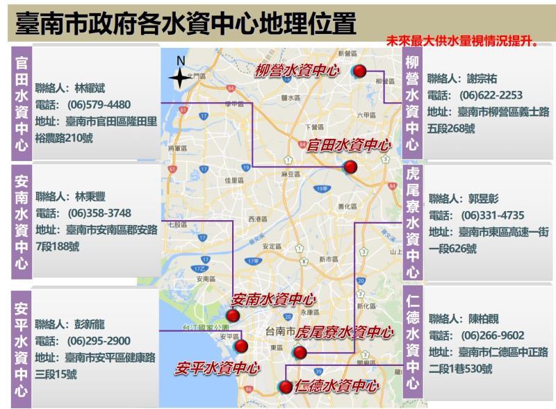 台南市水資中心位置。