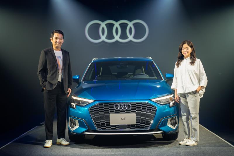 台灣奧迪行銷處長石田英明(左)與C JEAN 創意總監簡君嫄(右)合影。