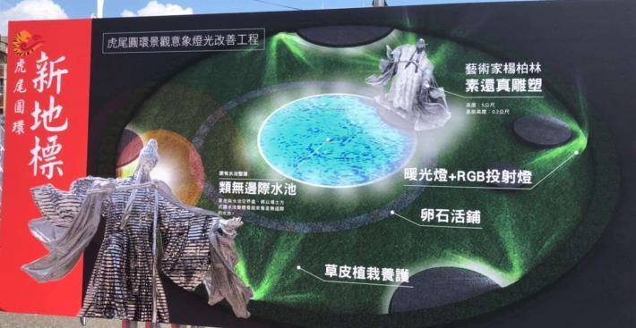 霹靂布袋戲「素還真」+藝術家楊柏林  打造虎尾圓環新地標。