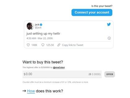 推特創辦人拍賣15年前第1則推文 出價飆到5500萬