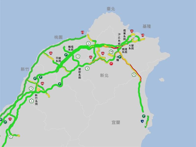 國5北上車流量大  頭城至坪林車速不到40公里